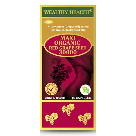 Wealthy Health Maxi Organic Red Grape Seed 30000mg Cap X 90