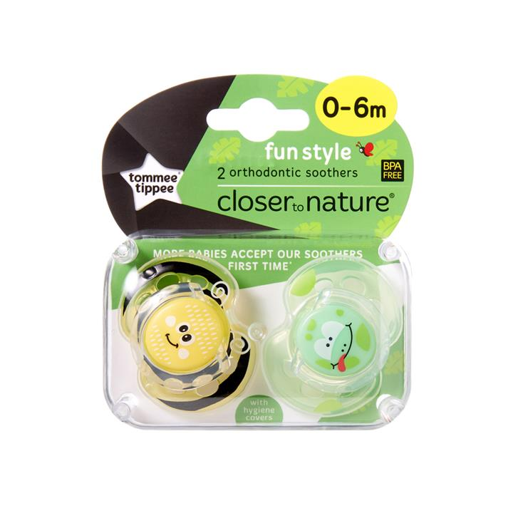 Tommee Tippee CTN Fun Style Soother 0 to 6 Months X 2 (Assorted Designs/Colours)