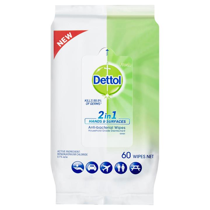 Dettol 2 in 1 Hand & Surfaces Anti-Bacterial Wipes X 60