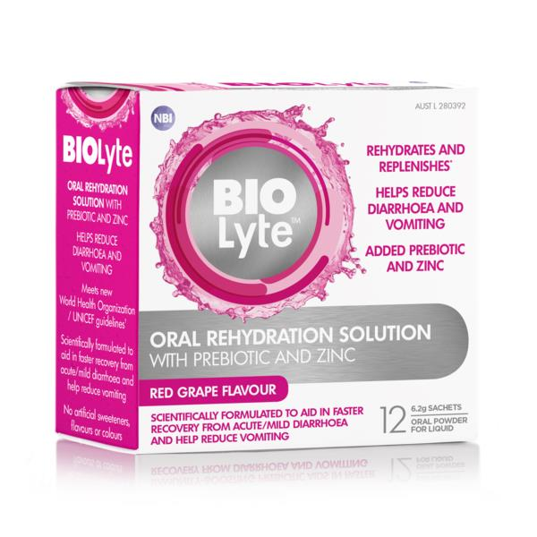 Biolyte Oral Rehydration Powder (Red Grape) Sachets 6.2g X 12