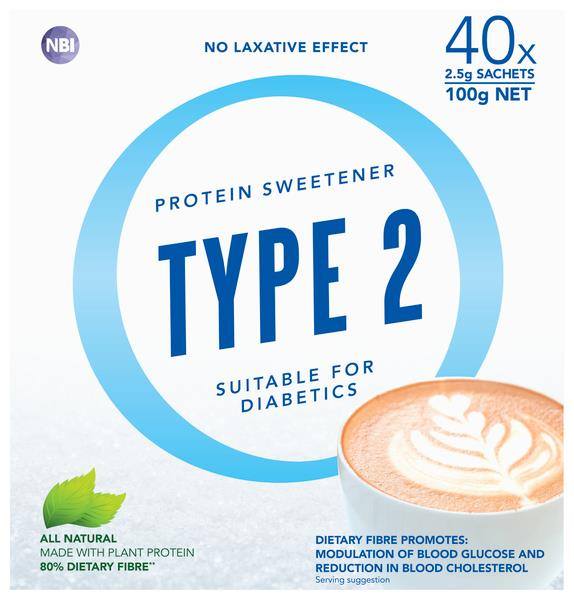 Type 2 Protein Sweetener (Diabetic Friendly) Sachets 2.5g X 40