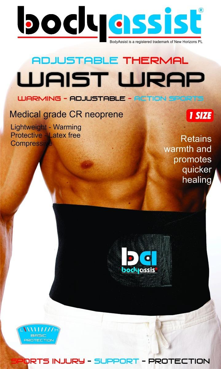 BodyAssist  Adjustable Thermal Waist Wrap Black (One Size)
