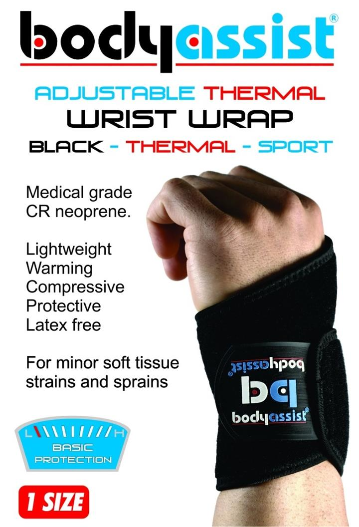 BodyAssist  Adjustable Thermal Wrist Wrap Black (One Size)