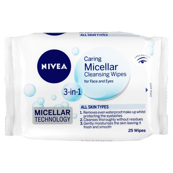 Nivea Caring Micellar Cleansing Wipes 3 in 1 for Face & Eyes X 25