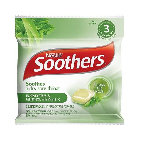 Soothers Eucalyptus & Menthol Medicated Lozenges 3 Stick Packs X 10