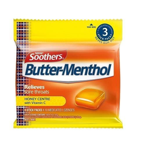 Soothers Butter-Menthol Medicated Lozenges 3 Stick Packs X 10
