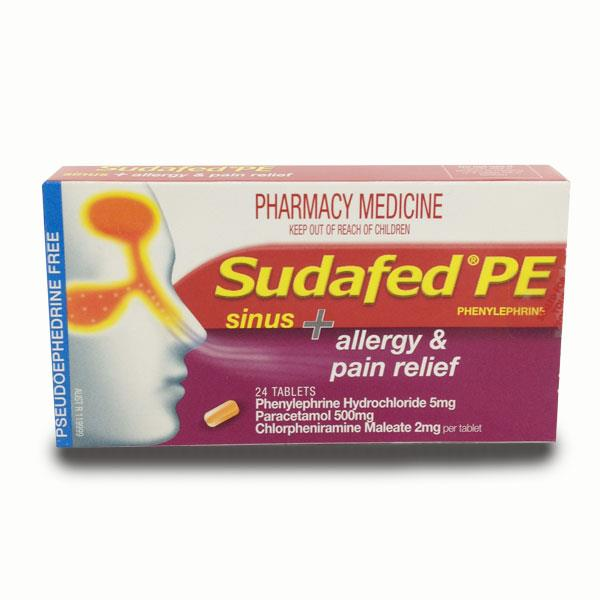 Sudafed PE Sinus + Allergy & Pain Relief Tab X 24