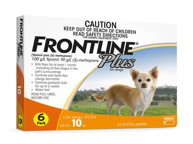 Frontline Plus For Small Dogs (Under 10kg) – 6 Pack