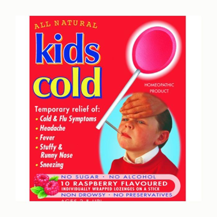 Kids Cold Lozenges On A Stick (Raspberry) X 10