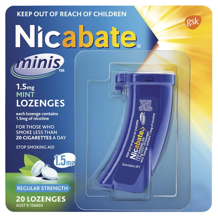 Nicabate Minis 1.5mg Mint Lozenges Regular Strength X 20
