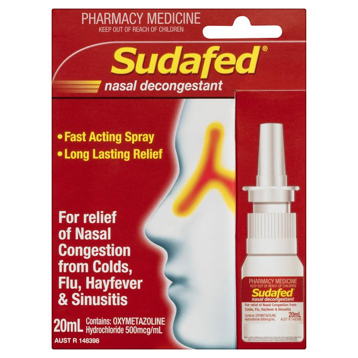 Sudafed Nasal Decongestant Spray Pump 20ml