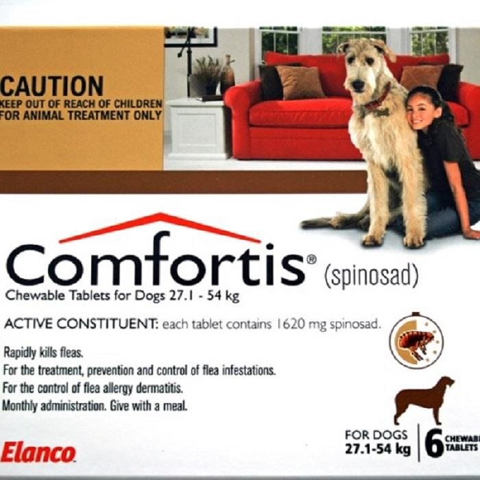 Comfortis Chewable Tab for Dogs 27.1 – 54 kg (Brown) X 6
