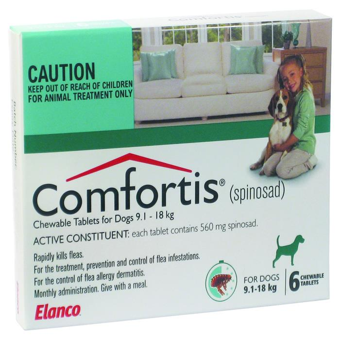 Comfortis Chewable Tab for Dogs 9.1 - 18kg (Green) X 6