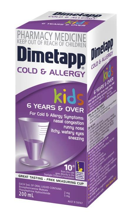 Dimetapp Cold And Allergy Grape Flavour 200ml