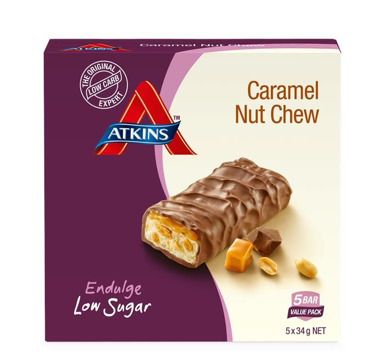 Atkins Endulge Caramel Nut Chew Bars 34g X 5