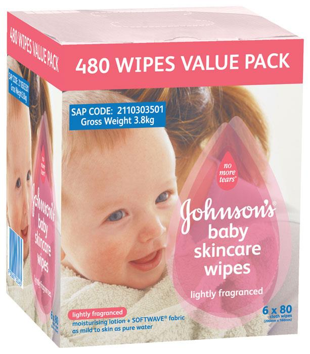 Johnson's Baby Skincare Wipes Lightly Fragranced X 80 X 6