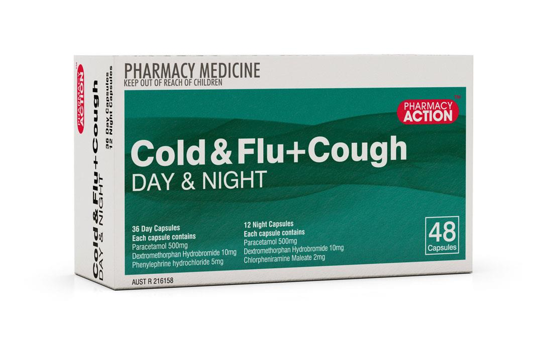 Pharmacy Action Cold & Flu + Cough Relief PE Day & Night Cap X 48 (Generic for Codral Cold & Flu + Cough)