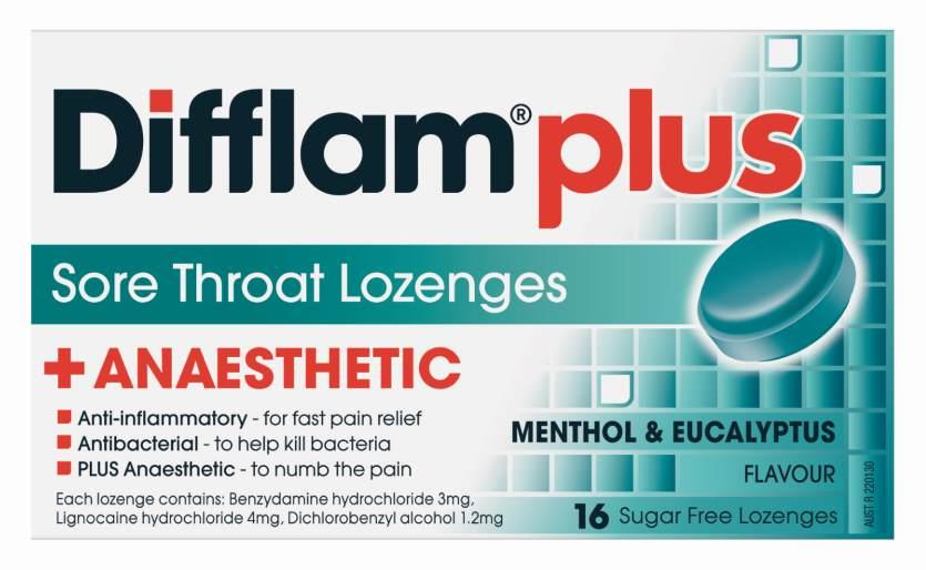 Difflam AAA Lozenges Menthol & Eucalyptus Sugar Free X 16