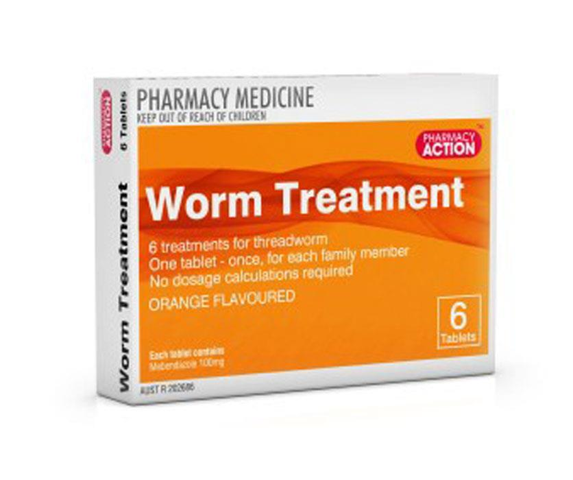Pharmacy Action Worm Treatment Tab X 6 (Generic for Vermox)