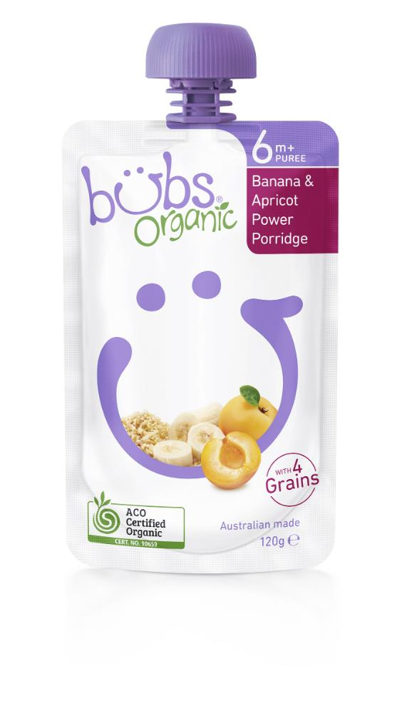 Bubs Banana & Apricot Power Porridge 120g