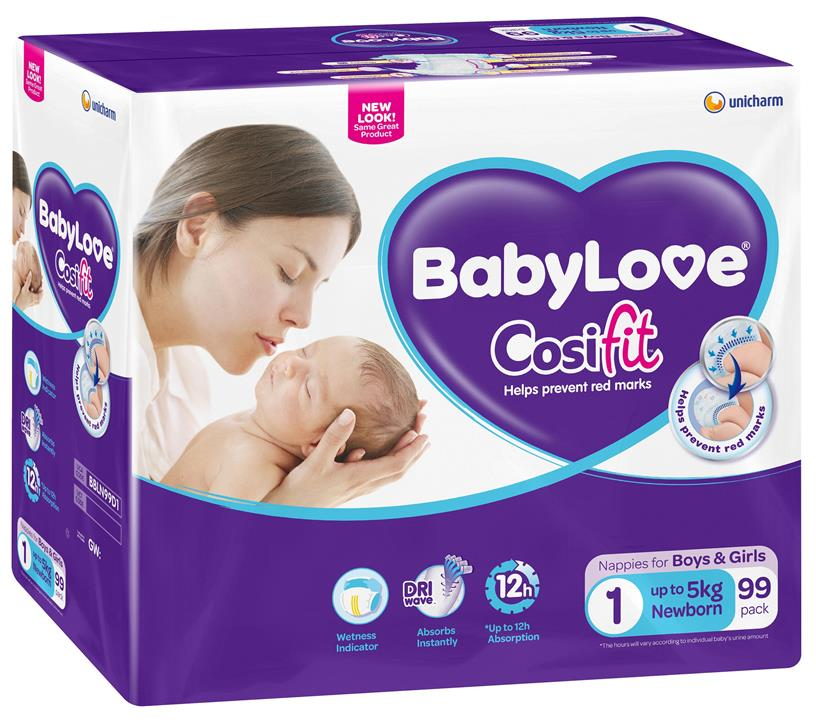 BabyLove Cosifit Nappies Newborn (Up To 5kg) X 99 (Limit 2 boxes per order)