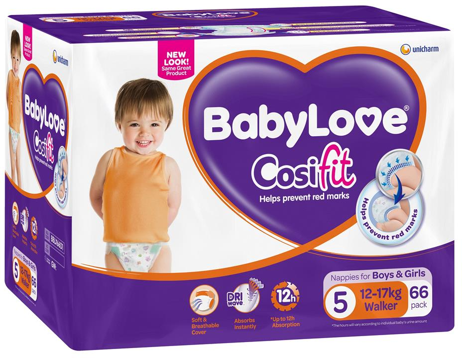 BabyLove Cosifit Nappies Walker (12-17kg) X 62 (Limit 2 boxes per order)