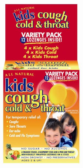 Kids Cough, Cold & Throat Lozenges On A Stick (Variety) X 12