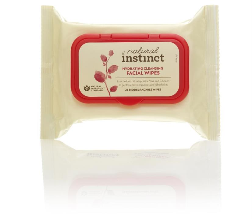 Natural Instinct Hydrating Cleansing Facial Wipes X 25