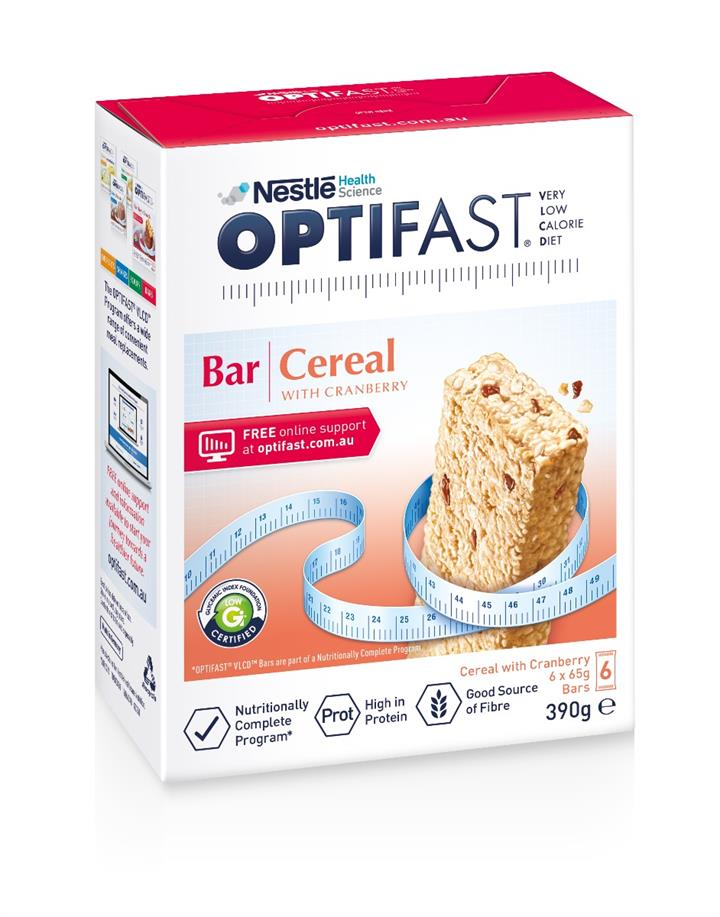 Optifast Bar Cereal With Cranberry 65g X 6