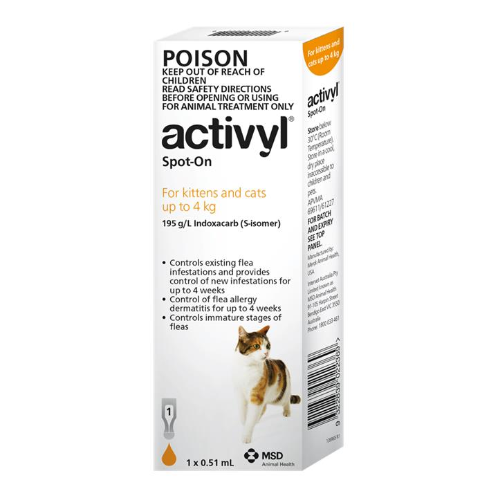 Activyl Spot-On For Kittens & Cats (Up to 4kg) 0.51ml X 1