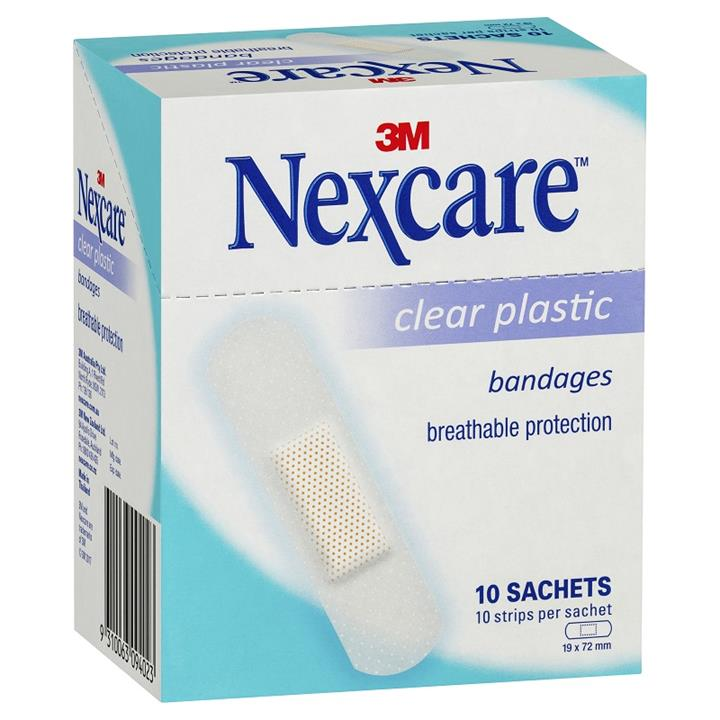 Nexcare Clear Plastic Bandage Strips 10 X (10 Sachets)