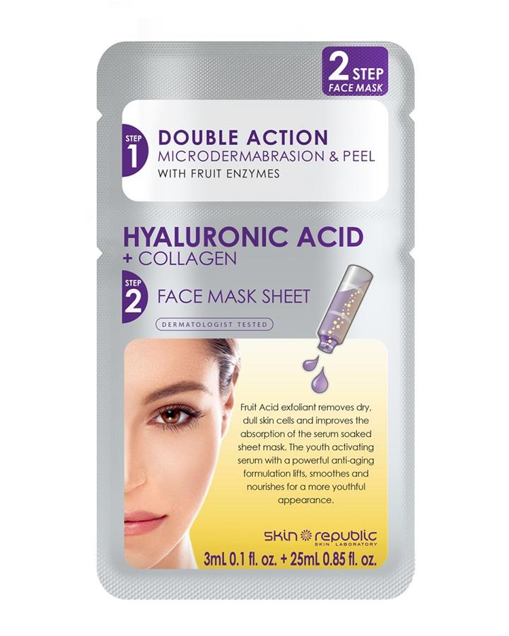 Skin Republic 2 Step Hyaluronic Acid + Collagen Face Mask Sheet