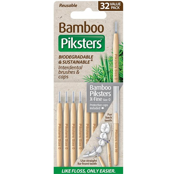 Piksters Bamboo Interdental Brush (Size 0 - Grey) X 32