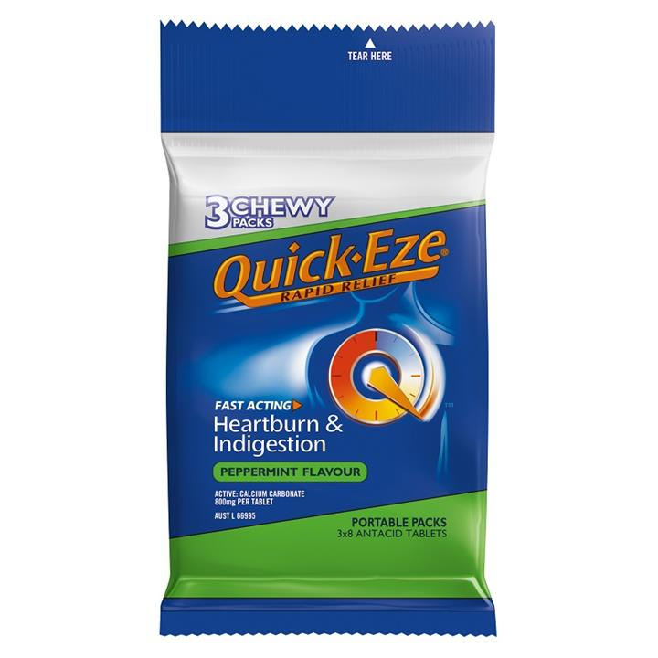 Quick-Eze Rapid Relief Chewy Peppermint Tab Multi Pack 3 X 8