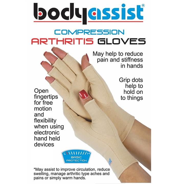 BodyAssist Compression Arthritis Gloves (Beige Extra Large)
