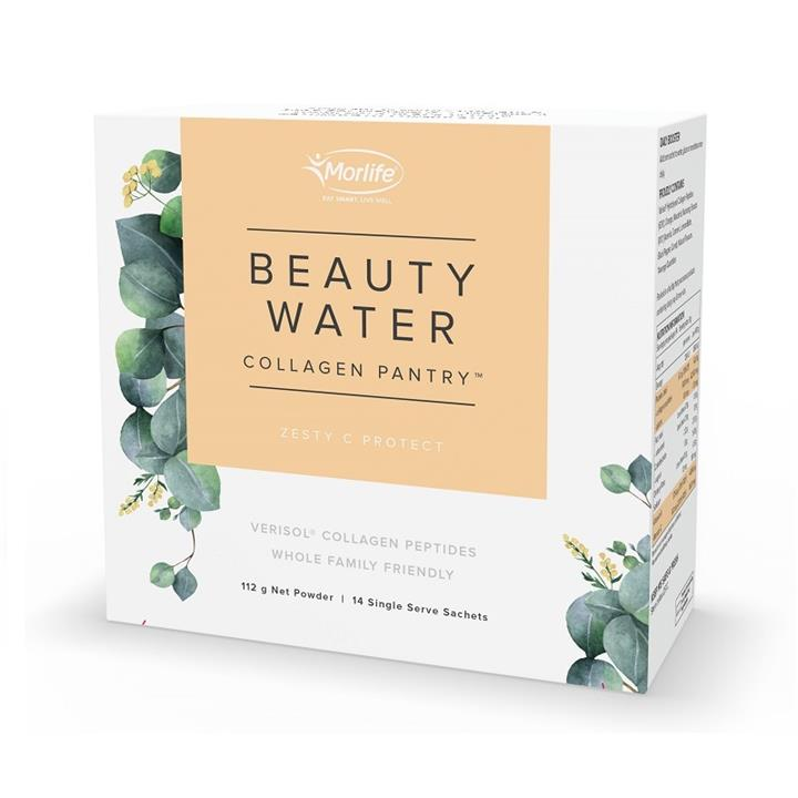Morlife Collagen Pantry Beauty Water Zesty C Protect Sachets 8g X 14