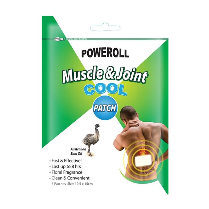 Glimlife Poweroll Muscle & Joint Patch Cool (10.5cm x 15cm) X 3