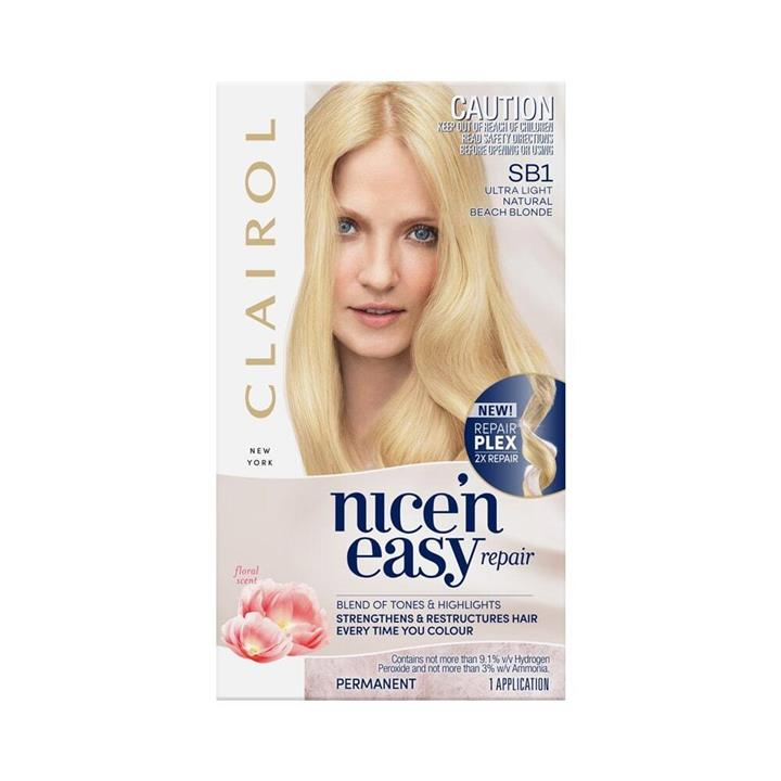 Clairol Nice 'N Easy Repair Permanent Hair Colour SB1 Ultra Light Natural Beach Blonde Floral Scent