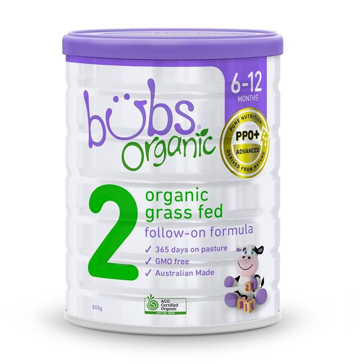 Bubs Organic Grass Fed Follow-On Formula (Stage 2) 800g (Limit 2 per order)