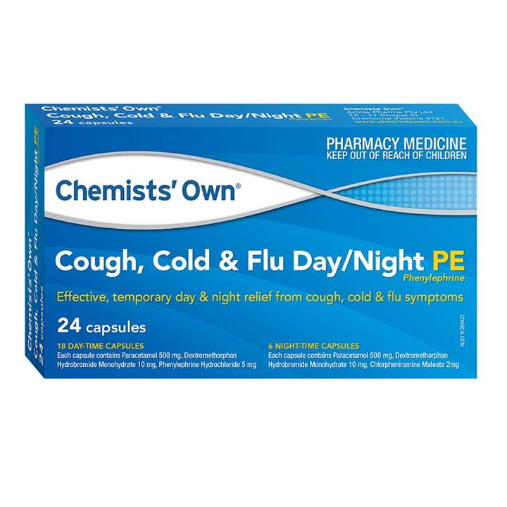 Chemists' Own Cough, Cold & Flu Day/Night PE Cap X 24 (Limit 1 per order)