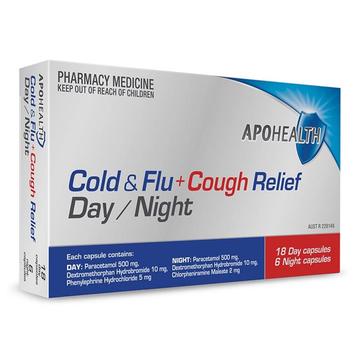 ApoHealth Cold & Flu + Cough Relief Day/Night Cap X 24 (Limit 1 per order)