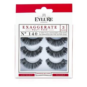 Eylure Exaggerate False Lashes Multipack – 140 Black (Adhesive Included) 3pairs Make Up