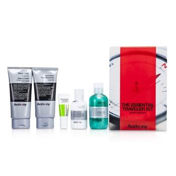Anthony Logistics For Men The Essential Traveler Kit:  Cleanser + Mositurizer + Lip Blam + Shave Cream + Hair & Body Wash 5pcs Men's Skincare