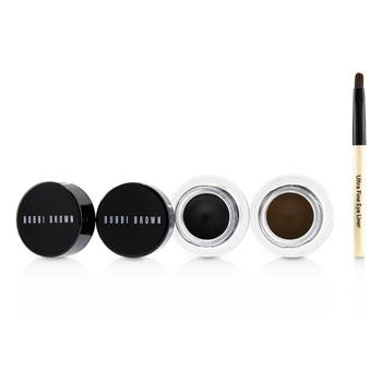 Bobbi Brown Long Wear Gel Eyeliner Duo: 2x Gel Eyeliner 3g (Black Ink, Sepia Ink) + Mini Ultra Fine Eye Liner Brush 3pcs Make Up
