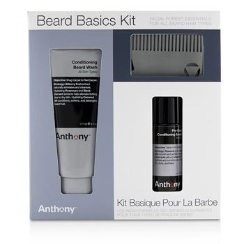 Anthony Beard Basics Kit: 1x Conditioning Beard Wash 177ml, 1x Pre-Shave + Conditioning Beard Oil 59ml, 1x Beard Comb 3pcs Men's Skincare