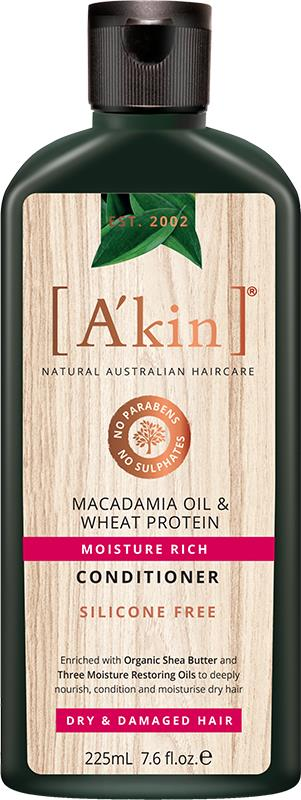 A'kin Conditioner For Dry & Damaged Hair Macadamia Oil & Wheat Protein 225ml