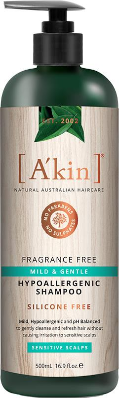 A'kin Hypoallergenic Shampoo For Sensitive Scalps Fragrance Free 500ml