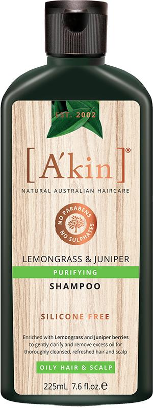 A'kin Shampoo For Oily Hair & Scalp Lemongrass & Juniper 225ml