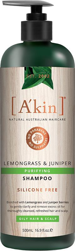 A'kin Shampoo For Oily Hair & Scalp Lemongrass & Juniper 500ml