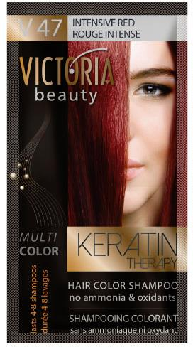 Victoria Beauty Keratin Therapy Hair Color Shampoo 40ml Sachet V47 Intensive Red